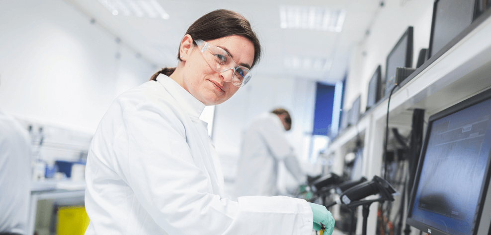 Nanopore scientist working in the lab