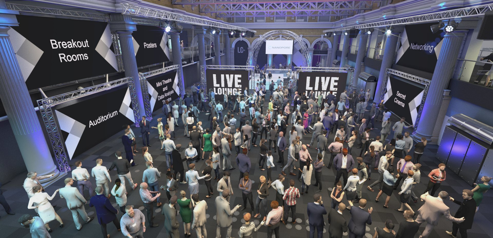 Virtual rendering of the atrium of the London Calling venue and delegates.