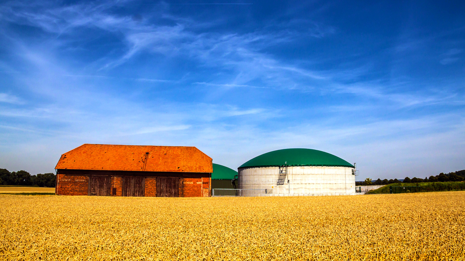 Biogas plant and barn in field