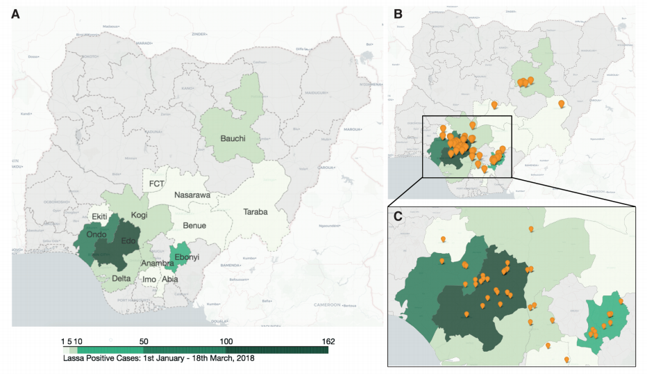 Lassa fever virus outbreak map Kafetzopoulou Jan2019