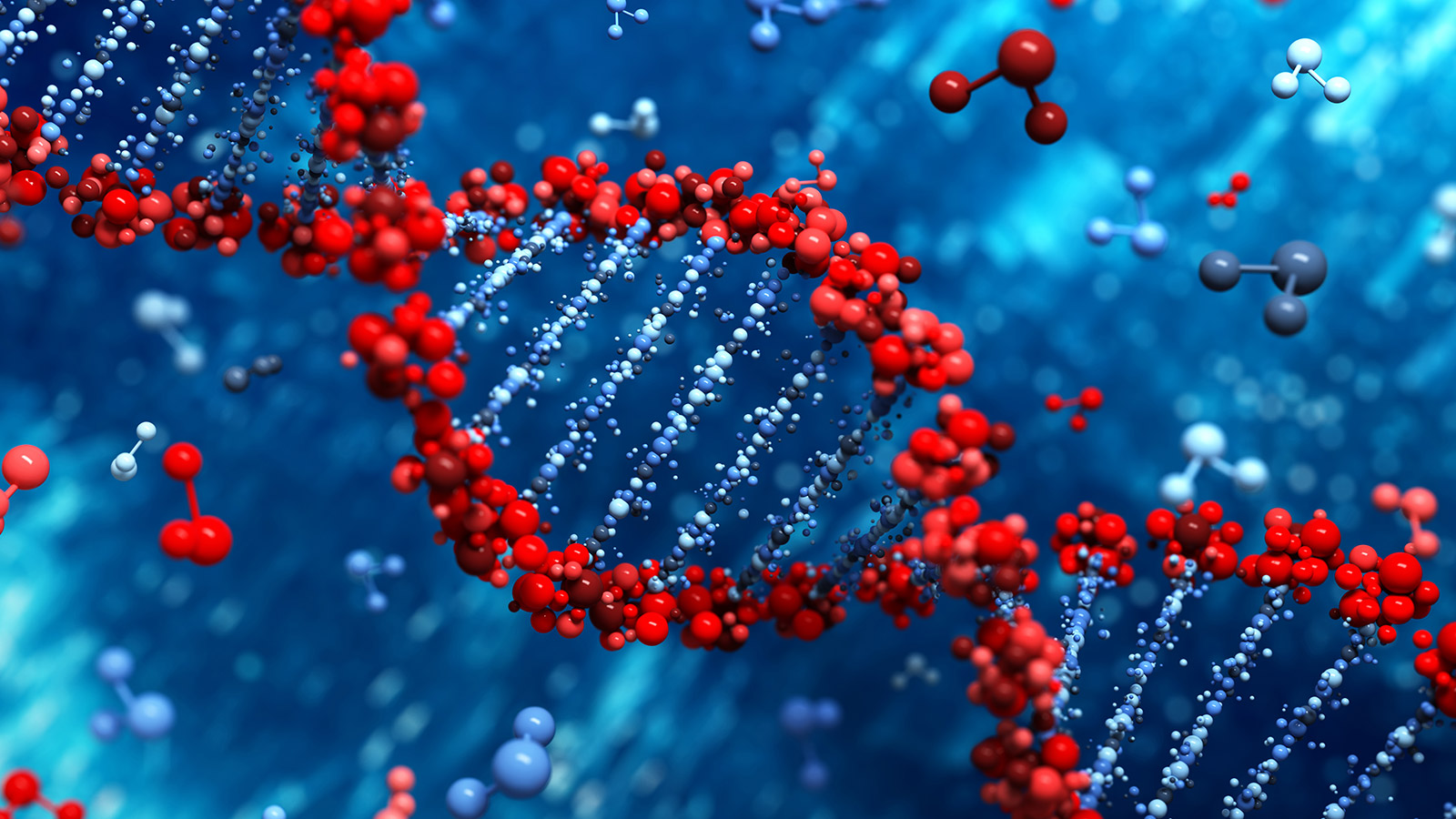 Red DNA double helix on blue background